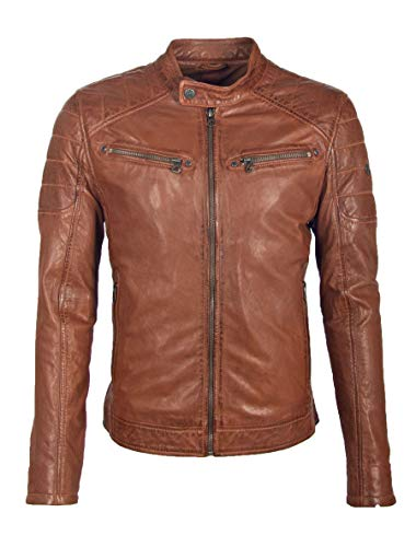 Gipsy GBPanuk NSLV Herren Bikerjacke aus Lammleder (XL, Cognac)