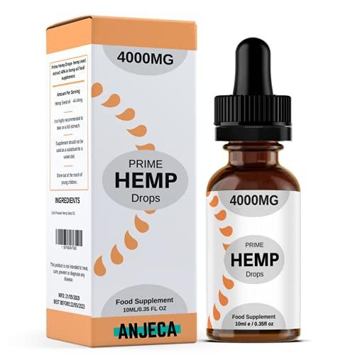 Anjeca - Prime Hemp-Tropfen – Hanfsamenöl, 4000 Milligramm, Natürlicher Hanf