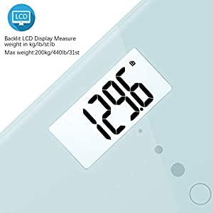 Uten Digital Body Scale, Bathroom Weight with Step-On Technology, Backlight Display, Round Corner Design and 8MM Glass, 440lb/200kg Capacity