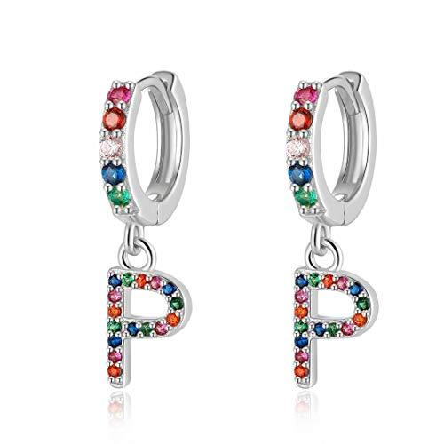 Qings Initial Pendant Earrings, P Initial Earrings Drop Earrings 925 Silver Earrings Alphabet Earrings Cute Earrings with Letter Cubic Zirconia Earrings for Girl Women