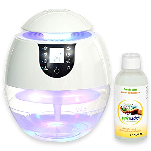 winwin clean Systemische Reinigung - AIR Blow III I Bluetooth I IONISATOR I LED I 3 LEISTUNGSSTUFEN I INKL. LUFTREINIGUNGS-Konzentrat Fresh AIR 'Wellness' 500ML