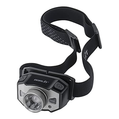 Boruit led headlamp Rechargeable Portable Zoomable Headlamp Flashlight 5 Modes White Red LED Light Headlight Light-Weight Ideal for Running Camping Repairing
