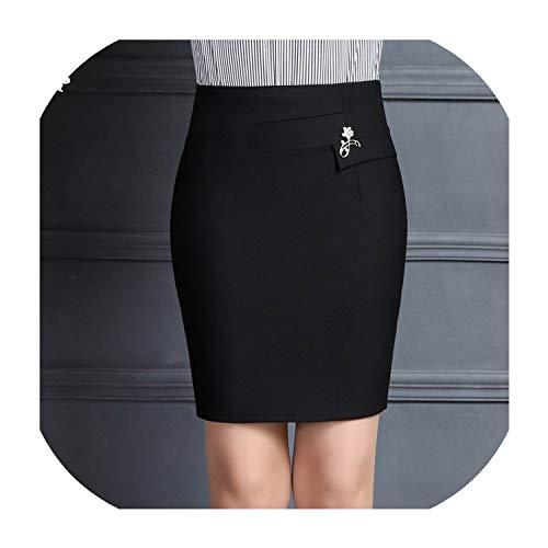Vrouwen kantoor rok kantoor normale lak broche hoge taille pakket heupdrok minirok