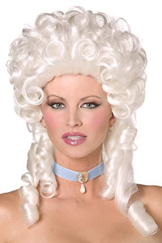 Smiffys Damen Lockige Perücke mit Korkenzieherlocken, Barock Perücke, Weiß, One Size, 42122