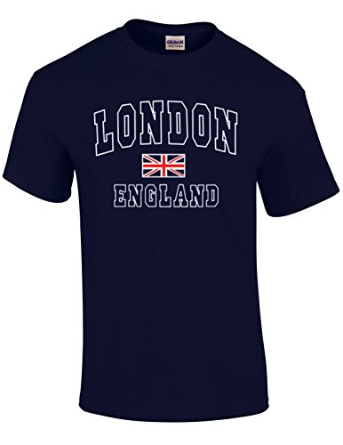London England with Union Jack Quality Printed T-Shirts...