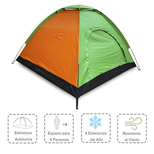 ALLPER Tienda de campaña de fácil Montaje, Polyester y Varillas de Acero Resistente. 4 Personas, Color: Naranja Y Verde. Medidas: 200 x 200 x 125 cm. Impermeable.