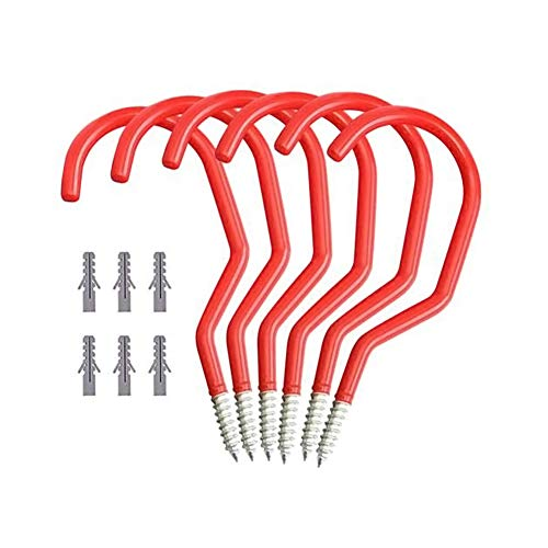Chiloskit 6PCS Heavy Duty Garage Hooks Utility Wall Mount Wall Hanger Rack Storage Display for Skateboard Garden Tools Bike (Red)