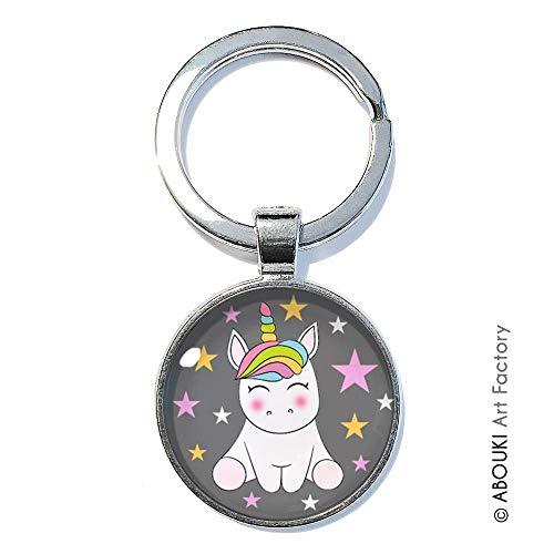 Einhorn Motiv auf grauem Hintergrund mit Sternen - ABOUKI | handgefertigter Glücksbringer Taschenanhänger Schlüsselanhänger