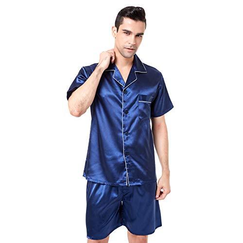 Home + Schlafanzug Satin Seide Pyjama Shorts Für Männer Rayon Seide Nachtwäsche Sommer Männliche Pyjama Set Weiche Nachthemd Für Männer Pyjamas @ with_White_Piping_XL