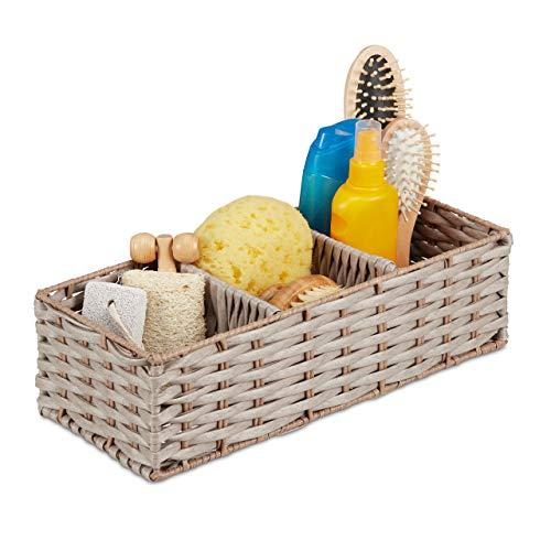 Relaxdays Aufbewahrungskorb geflochten, Bad Aufbewahrung, mit 3 Fächern, Kunststoff, HBT: 11 x 36,5 x 15,5 cm, braun