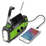 Efluky Solar Radio Am/FM/NOAA Radio de manivela Radio de Emergencia Recargable USB portátil con Banco de energía de 4000 mAh Linterna LED Alarma SOS y luz de Lectura para Camping Viajes (Verde)