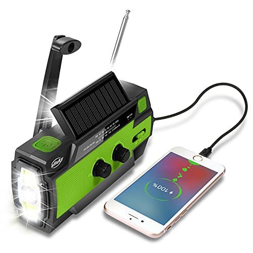Efluky Solar Radio AM/FM/NOAA Kurbelradio Tragbar USB Wiederaufladbar Notfallradio mit 4000mAh Power Bank, Led Taschenlampe, SOS Alarm und Leselicht für Camping, Survival, Reisen, Notfall (Grün)