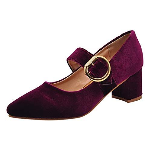 Manadlian Chaussures de Mode Dame Mot Boucle Pointu Chaussures Peu Profondes avec Talon Chaussures Simples Rétro Mariage Soirée Fête Souliers Pointus Chaussons