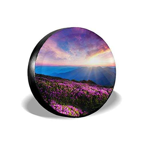 Tire Cover Purple Flowers Sky Clouds Sunset Rays Mountains Title PVC Leather Waterproof Dustproof Universal Trailer Caravan SUV Truck Camper Travel Trailer Accessories