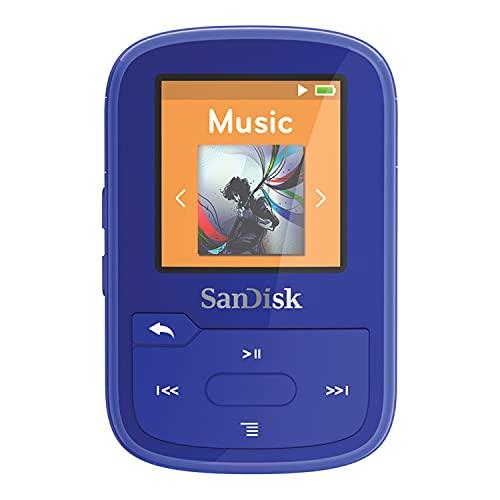 SanDisk 16GB Clip Sport Plus MP3 Player, Blue - Bluetooth, LCD Screen, FM Radio - SDMX28-016G-G46B