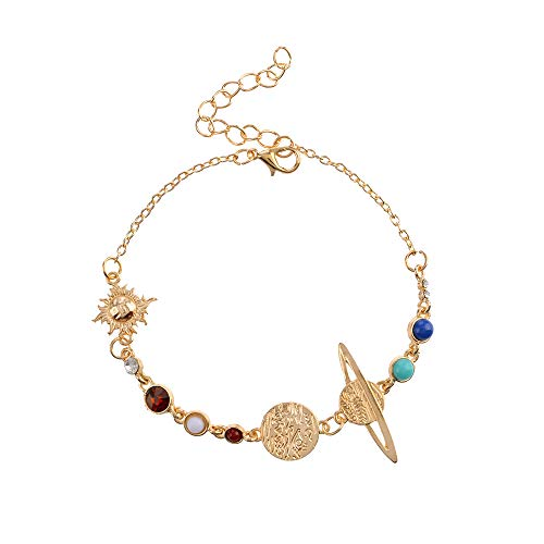 YOOE Eight Planets Universe Bracelet Anklet. Adjustable Gold Plate Chain Galaxy Space Bracelet Solar System Space Women Girls Jewelry (anklet)