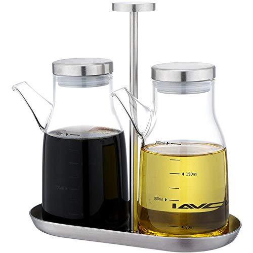 xiaoshenlu Dispensador de Aceite de Oliva, Vinagreras de Botella de Aceite de Vidrio sin Goteo, Dispensador de Aceite de Vidrio sin Plomo, 200 ml, Juego de 2 con Soporte