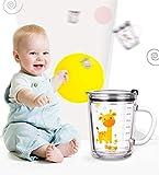 Soleiler Niño Taza Medidora Taza de Leche Vaso Taza de Escala para niños con Paja, 350 ml Taza de Agua de Vidrio para niños Impresión de Dibujos Animados a Prueba de Fugas (Jirafa)