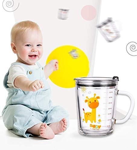SOLEILER Tazza di latte con bilancia, tazza d'acqua, tazza di paglia, 350 ML tazza da in vetro per bambini Stampa a tenuta stagna del fumetto (giraffa)