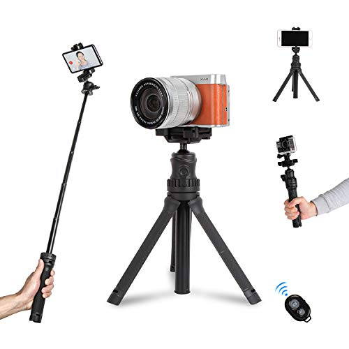 Mini Desktop Tripod for Camera and Phone Small Extension Pole Selfie Stick Stand Tripod Table top for iPhone Gopro DSLR Cameras with Bluetooth Remote
