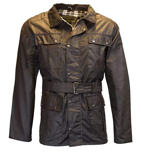 Walker & Hawkes motorjas voor heren, gewaxt, waterdicht, met riem en 4 zakken, zwart