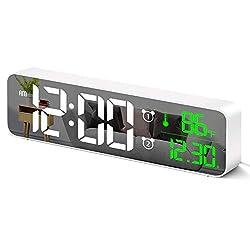 Digital Alarm Clock for Bedroom,Alarm Clock with USB,Desk Clock with 2 Alarm,12/24H & Date & Temp LED Display,4 Level Volume & 5 Level Brightness,40 Ringtones,Mirror Alarm Clock for Bedside,Office