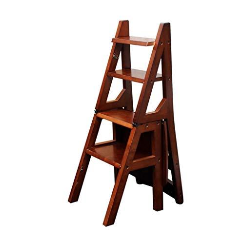 DNSJB Trapladder met 4 treden, ladder stap, vlees, kruk van hout, stoelen voor eetkamerstoelen, hoofdgardening gereedschap, zware belasting, max. 150 kg in bruin