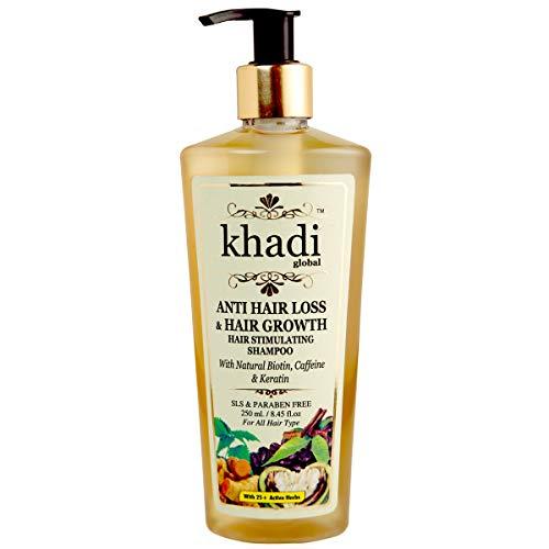 Khadi Global Anti Hair Loss & Hair Growth Hair Stimulating Shampoo With Natural Biotin Caffeine & Keratin Infused With More Than 25 Rare Active Indian Herbs 8.45 Fl.Oz |Best Biotin Hair Growth Shampoo