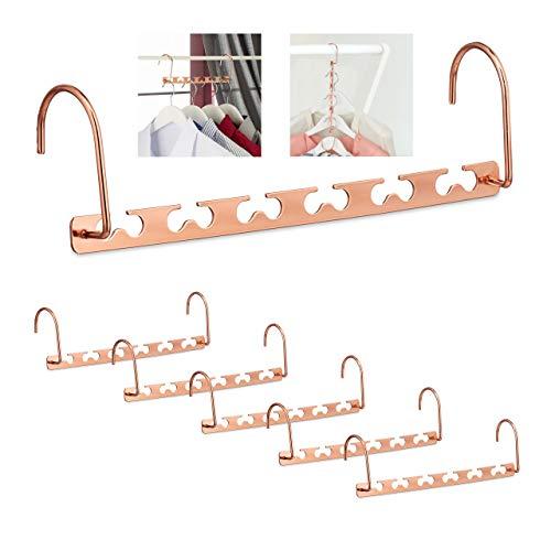 Relaxdays Raumsparbügel 6er Set, für 12 Bügel, waagerecht & senkrecht, platzsparende Kleiderbügel, 26 cm, Metall, Kupfer, Pack