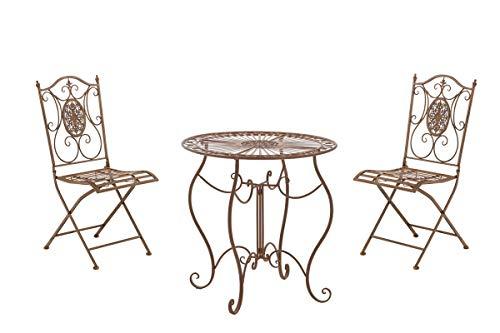 Conjunto de Mesa & 2 Sillas Plegables Aldeano I Juego de Mesa & Sillas para Jardín I Conjunto de Muebles de Jardín en Hierro Galvanizado I Color:, Color:Antiguo marrón
