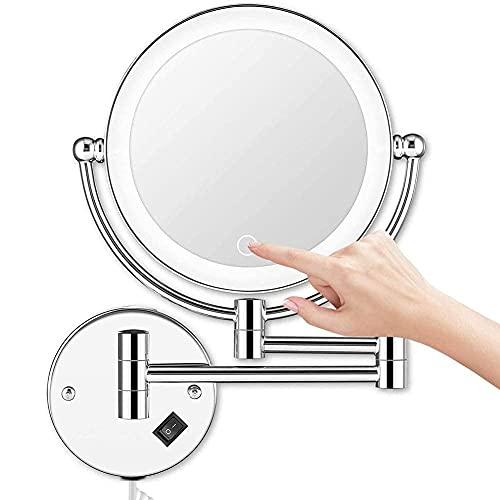 XLAHD Espejo de Maquillaje Compacto, Espejo de Maquillaje montado en la Pared, Espejo de tocador con Aumento de Doble Cara, 1X / 5X, Giratorio de 360 °, Extensible para baño