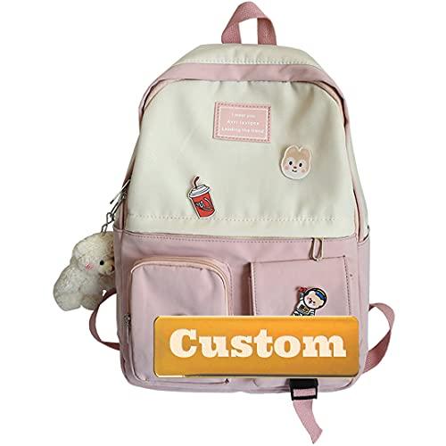 Nombre Personalizado Mujer Moda Mini Mochila Casual Daypack Mochila Monedero Casual Ordenador portátil Hombres (Color : Pink, Size : One Size)