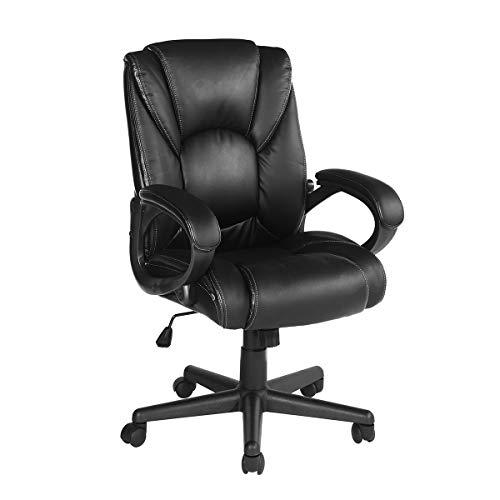 Aingoo Sedia da Ufficio PU ergonomica direzionale Sedia Girevole da 360 Gradi con meccanismo di inclinazione, capacità di carico 120 kg Nero
