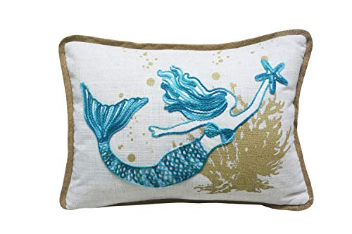 Comfy Hour Under The Sea Collection Ocean Sea Mermaid Starfish Coral Coastal Accent Throw Pillow Cushion for Marine Animal Lovers, Polyester