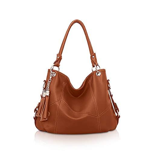 NICOLE & DORIS Damen Handtasche Hobo Tasche für Damen Leder Schultertasche Damen Umhängetasche Handtaschen mit Quaste Ziegelrot