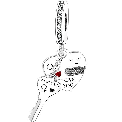 Pandora 925 Charm I Love You Heart Dangle Pulsera Original Colgante De Plata Bead Valentineday Diy Gift