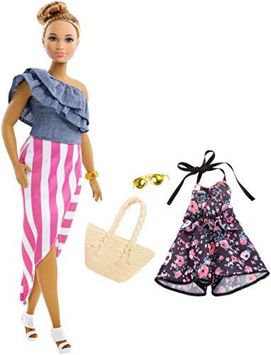 Mattel Barbie - Fashionistas Puppe und Mode Geschenkset, mit blümchen Jumpsuit und goldener Sonnenbrille