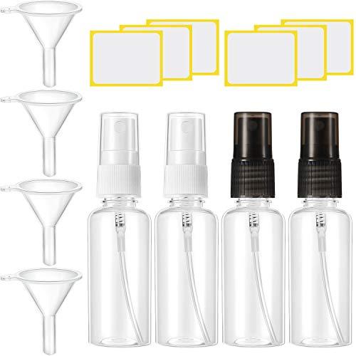 4 Jeux Bouteilles de Pulvérisation en Plastique 30ml Flacons de Pulvérisateurs Transparents à Brume Fine Contenants de Pulvérisation de Voyage Rechargeables avec Entonnoirs Étiquettes Autocollantes