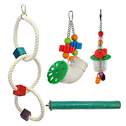 Cage Enhancement Set - Interactive Climbing Foraging Natural Branch Perch Cage Accessory Toy Bundle - For Sugar Gliders, Rats, Ferrets, Hamsters, Squirrels, Parrots, Birds, Marmosets, Degus, Monkeys