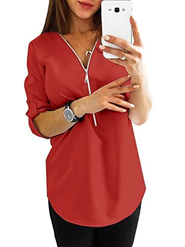 YOINS Seksowna koszulka damska na lato elegancka bluzka z długim rękawem damska bluzka tunika wiosna t-shirt dekolt w kształcie V topy
