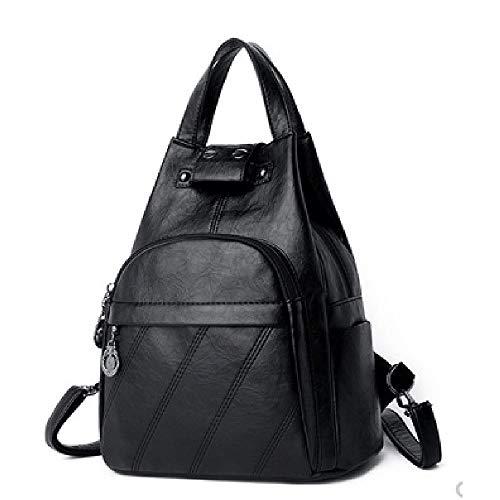 No-logo Ladies Backpack Multi-pocket Waterproof Anti-theft Backpack Large Capacity Travel Backpack Ladies Work School Travel Leisure (Color : A)