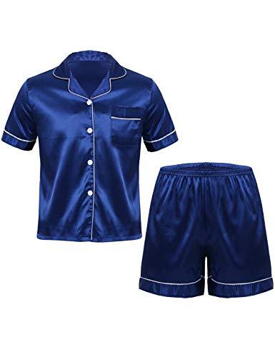 MSemis Herren Satin Pyjama Set Kurzarm Nachtwäsche Tops + Boxershorts Sommer Schlafanzug mit Knopf Weich Nachtwäsche 6 Farben Navy Blau X-Large