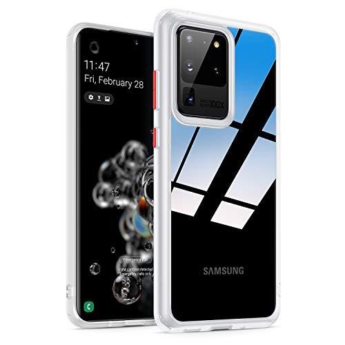 """Amazon Brand - Eono Hybrid Clear für Samsung S20 Ultra Hülle 【Nicht für S20 FE】, Transparent [Nie-Gelb] Schlanke dünne Hülle mit stoßfester Handyhülle für Samsung Galaxy S20 Ultra Hülle 6.9"""", Weiß"""