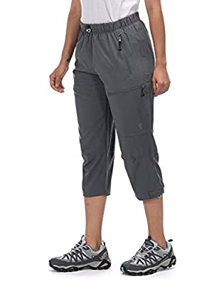 Little Donkey Andy Women's Quick Dry 3/4 Pants Capri Shorts Lightweight Hiking Travel Casual Steel Gray Size M