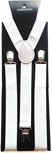 Trimming Shop 25mm Large Unisexe Élastique Porte-Jarretelles Blanc - Coloré - Uni Réglable Bretelles pour Pantalon, Jeans et Short