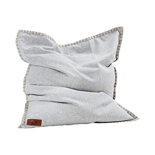 SACKit - SQUAREit Cobana - Sitzsack für drinnen oder draußen - Quadratischer Indoor/Outdoor Sitzsack perfekt für den Garten, das Wohnzimmer oder gaming im Jugendzimmer - 115 x 140 cm - White
