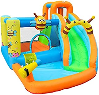 WZHZJ Bee Inflatable Water Slide Pool Bounce House Aquapark Bouncer Jumping Bouncy Castle for Kids with Blower