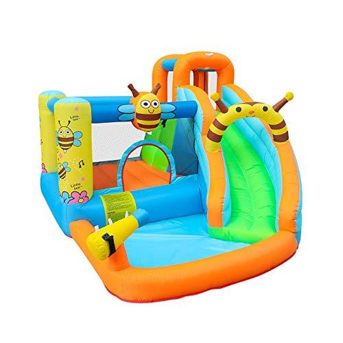 XZJJZ Slide Abeja Agua Inflable Piscina casa de la Despedida Aquapark Gorila de Salto Castillo Hinchable for niños con soplador
