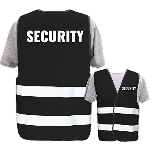 Bedruckte Warnwesten mit ISO-Leuchtstreifen * Standard- oder Reflex-Druck * Thema Sicherheit & Team, Warnweste Begriffe Security:Security, Farbe + Größe:Schwarz (M/L)