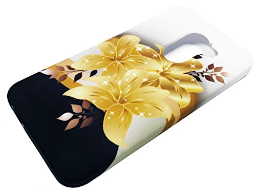 """TPU Flexible Skin Protective Case Phone Cover for Jitterbug Smart 2 Smart2 5.5"""" (2018) + Gift Stand (Yellow Gold Lily)"""